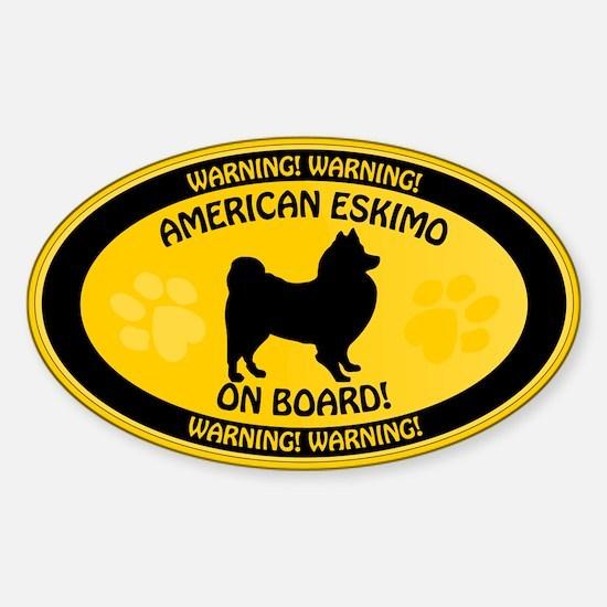 American Eskimo On Board Sticker (Oval)