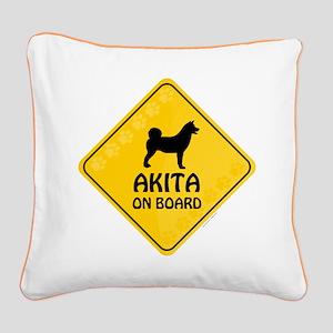 Akita On Board Square Canvas Pillow