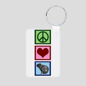 Peace Love Capybaras Aluminum Photo Keychain
