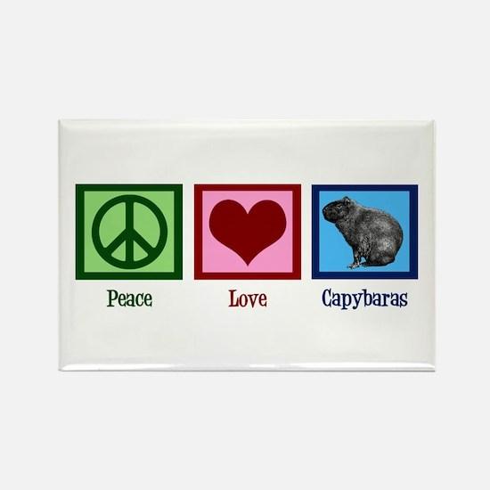 Peace Love Capybaras Rectangle Magnet