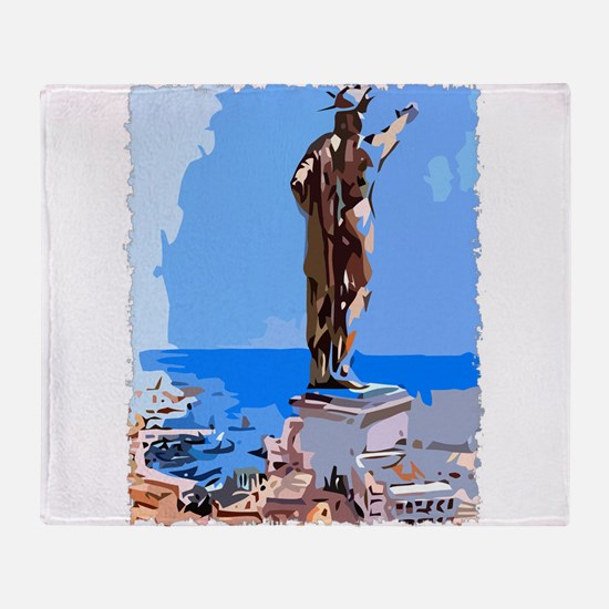 Colossus of Rhodes Throw Blanket