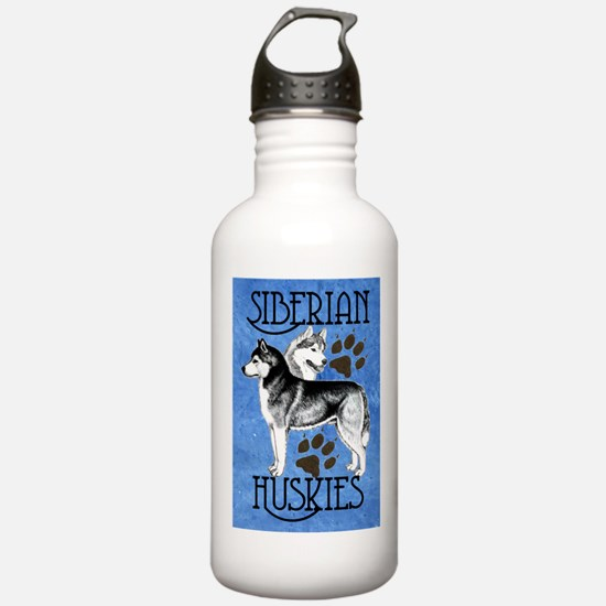 Siberian Huskies - Blue Water Bottle