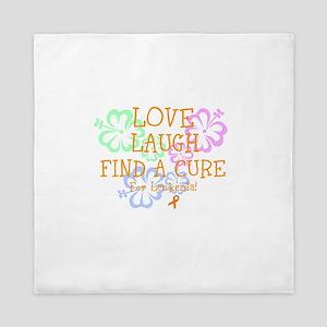 Love Laugh Cure Leukemia Queen Duvet