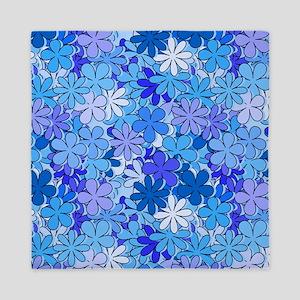 Groovy Blue Flowers Queen Duvet