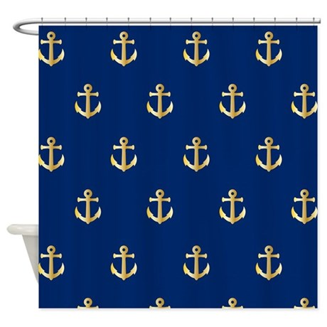 Old Gold Anchors Shower Curtain