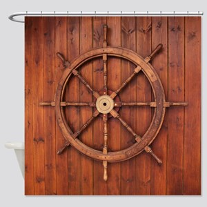 Wooden Marine Ship Wheel Shower Curtain