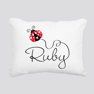 Ladybug Ruby Rectangular Canvas Pillow