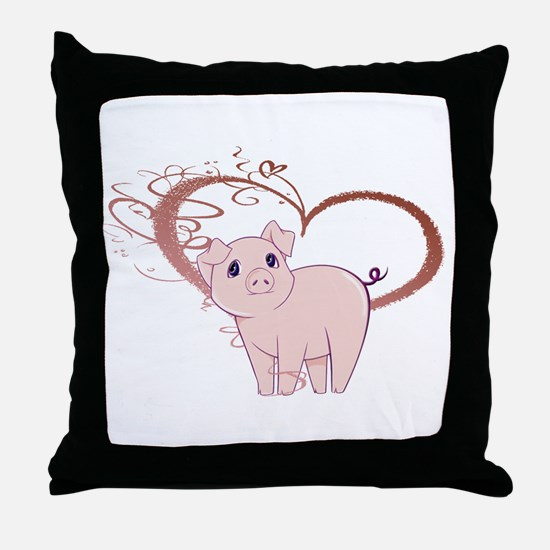 Cute Piggy Art Throw Pillow