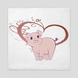Cute Piggy Art Queen Duvet
