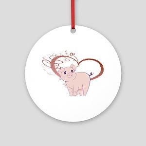 Cute Piggy Art Ornament (Round)