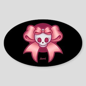 Skull 'n Bows Sticker (Oval)