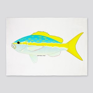 Yellowtail Snapper fish 5'x7'Area Rug