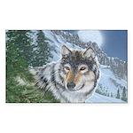 Wolf Moon Rising: Rectangle Sticker