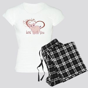 Love You, Cute Piggy Art Pajamas