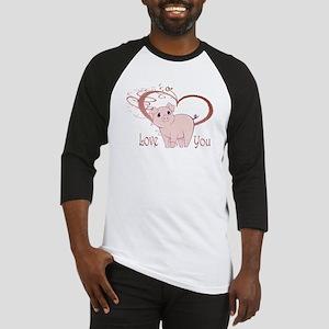 Love You, Cute Piggy Art Baseball Jersey