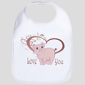 Love You, Cute Piggy Art Bib