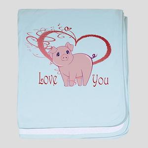 Love You, Cute Piggy Art baby blanket