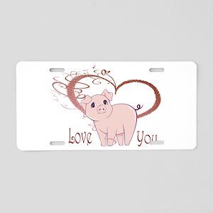 Love You, Cute Piggy Art Aluminum License Plate