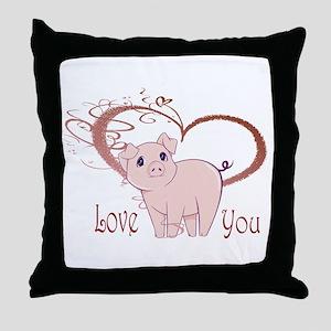 Love You, Cute Piggy Art Throw Pillow