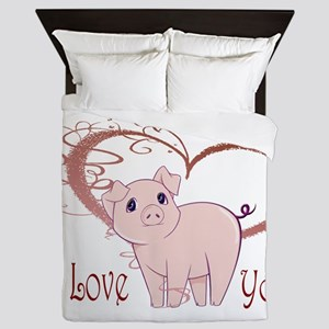 Love You, Cute Piggy Art Queen Duvet
