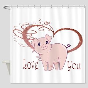 Love You, Cute Piggy Art Shower Curtain