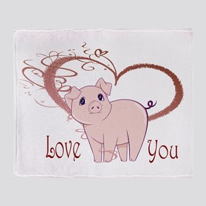 Love You, Cute Piggy Art Throw Blanket