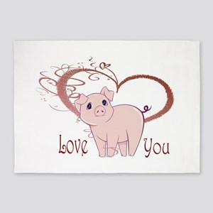 Love You, Cute Piggy Art 5'x7'Area Rug