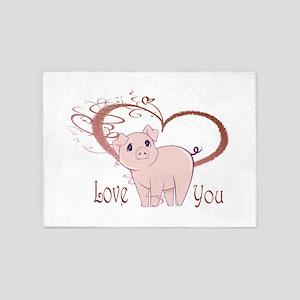 Love You, Cute Piggy Art 5'x7'Area Rug