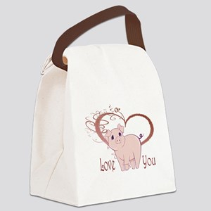 Love You, Cute Piggy Art Canvas Lunch Bag