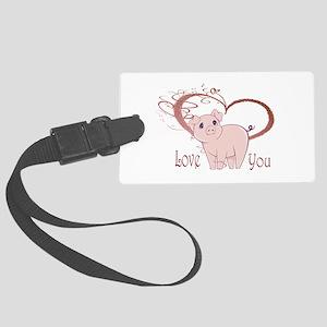 Love You, Cute Piggy Art Luggage Tag