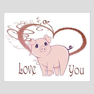 Love You, Cute Piggy Art Posters