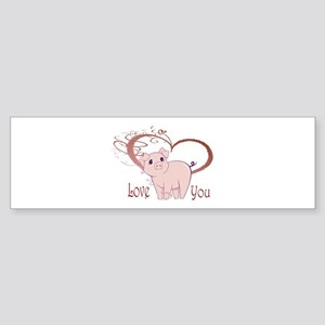 Love You, Cute Piggy Art Bumper Sticker