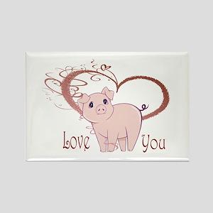 Love You, Cute Piggy Art Rectangle Magnet