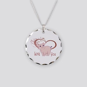 Love You, Cute Piggy Art Necklace