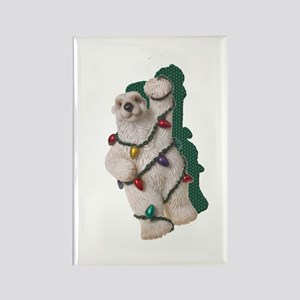 HOLIDAY BEAR W/LIGHTS Rectangle Magnet