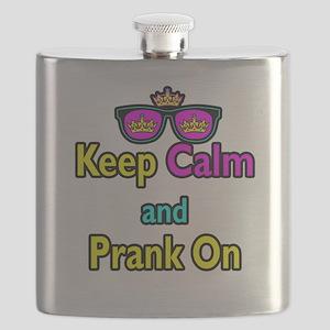 Crown Sunglasses Keep Calm And Prank On Flask