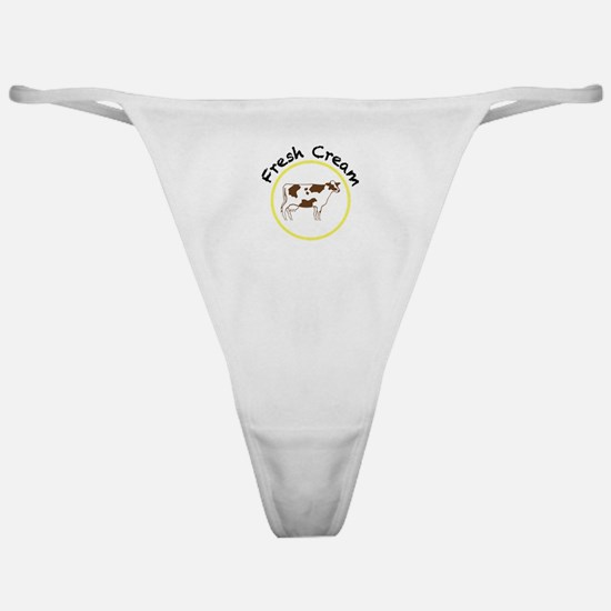 Fresh Cream with Black and Yellow Classic Thong