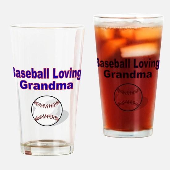 Baseball Loving Grandma Drinking Glass