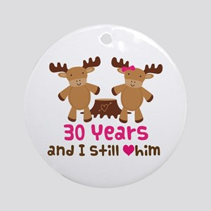 30th Anniversary Moose Ornament (Round)