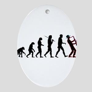 Saxophone Player Evolution Ornament (Oval)