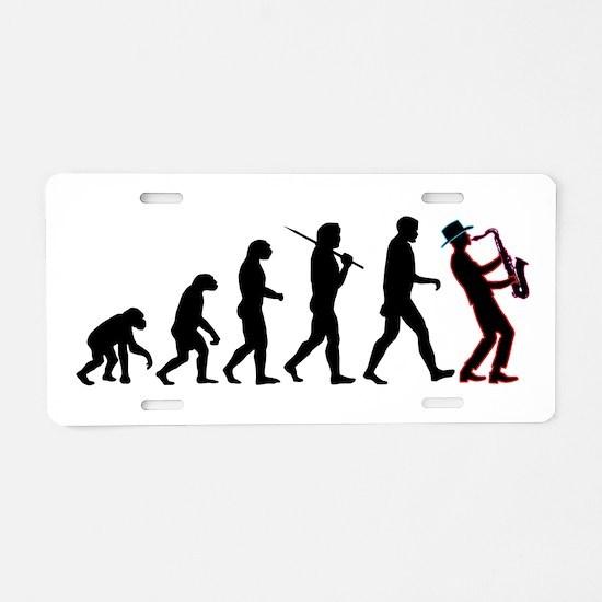 Saxophone Player Evolution Aluminum License Plate