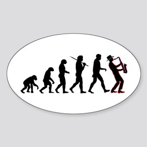 Saxophone Player Evolution Sticker (Oval)