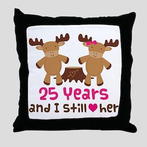 25th Anniversary Moose Throw Pillow