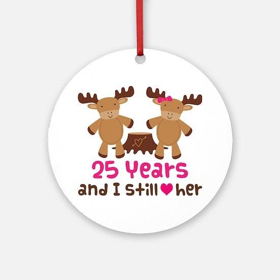 25th Anniversary Moose Ornament (Round)