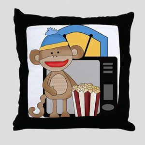 movie night sock monkey Throw Pillow