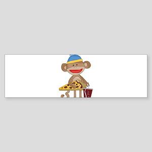 Sock Monkey snack time Bumper Sticker
