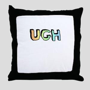 Rainbow Gradient 'UGH' Throw Pillow
