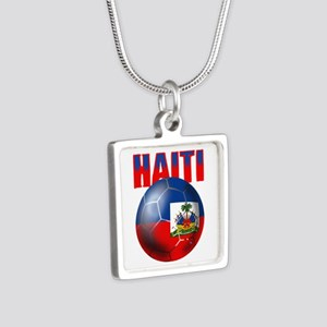 Haitian Football Silver Square Necklace