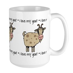 i love my goat Large Mug