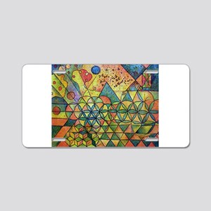 flower of life in abstract Aluminum License Plate